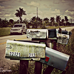 vintage retro travel old photo hdr mailboxes
